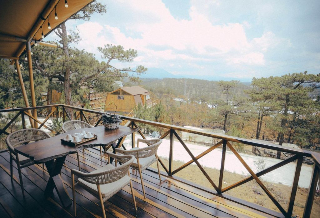 View from Dalat glamping resort in Asia