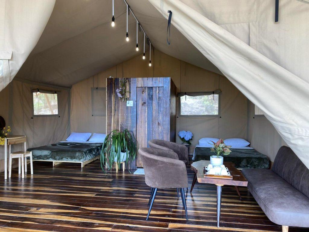 YALA Da Lat luxury glamping tent interior Vietnam