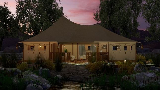 YALA_Eclipse_glamping_lodge_by_night_featured_image