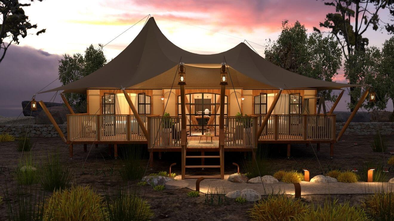 YALA_Aurora_luxury_canvas_glamping_lodge_front_view_by_sunset