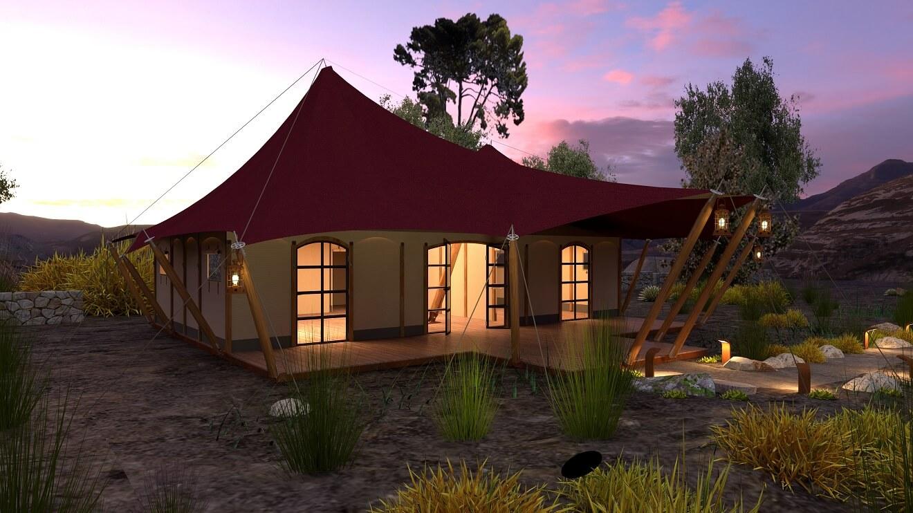 YALA_Aurora_Venue_side_view_luxury_glamping_canvas_lodges