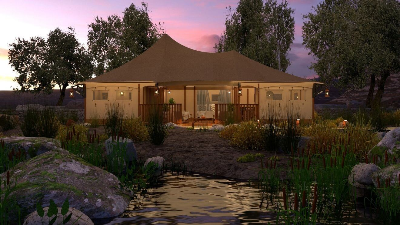 YALA_Eclipse_glamping_lodge_by_sunset_front_view